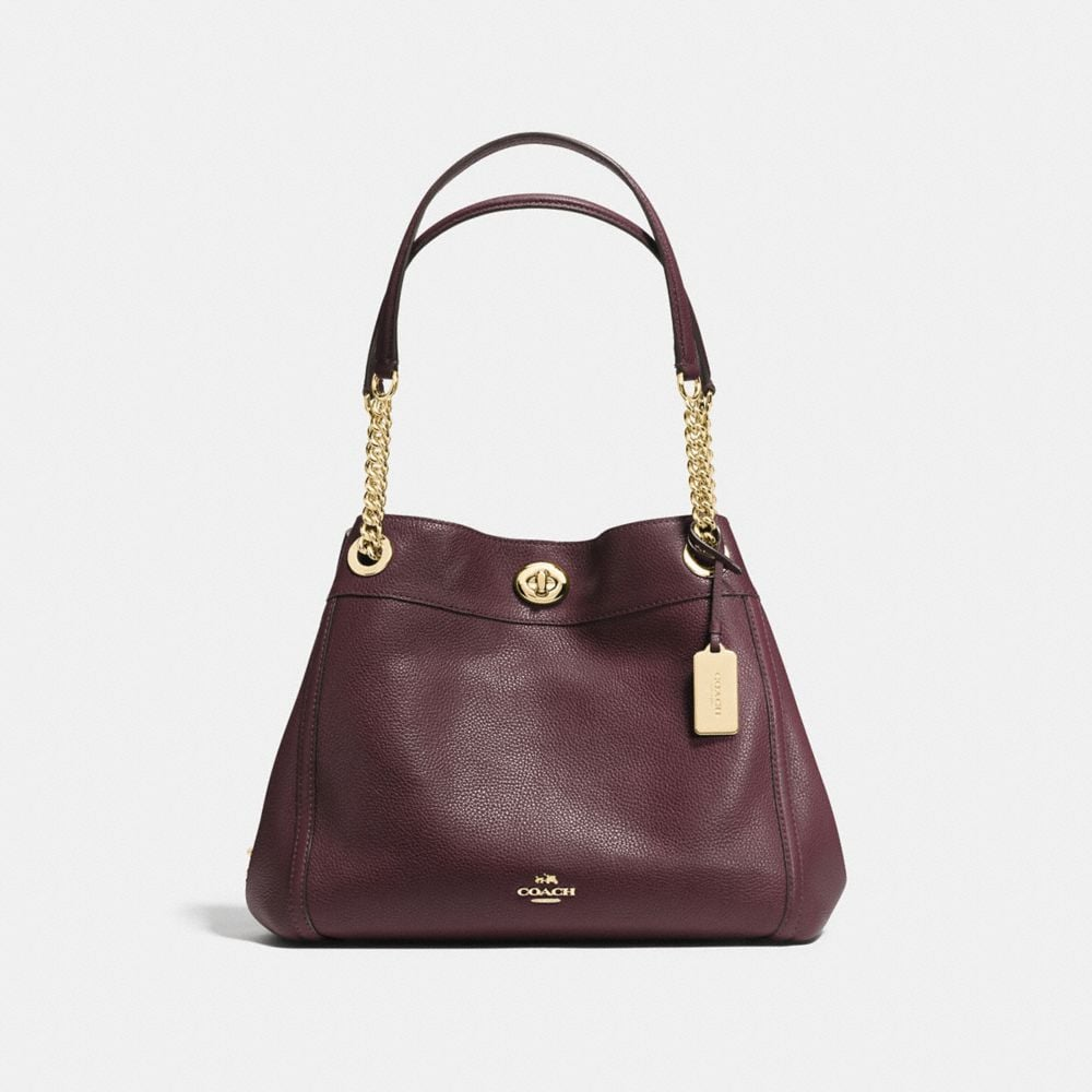 TURNLOCK EDIE SHOULDER BAG IN POLISHED PEBBLE LEATHER