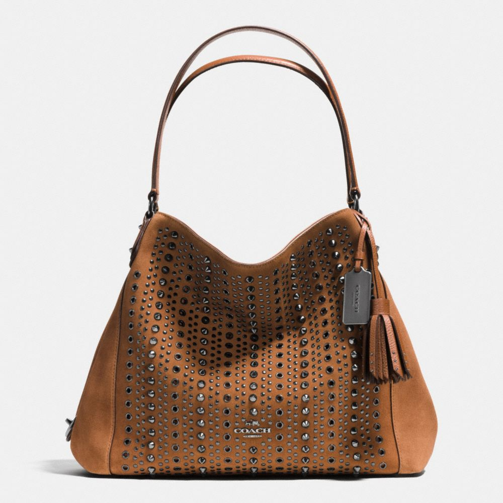 ALL OVER STUDS AND GROMMETS EDIE SHOULDER BAG 31 IN SUEDE