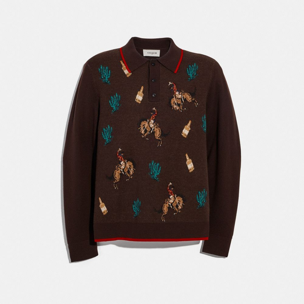 POLO-PULLOVER MIT RODEO-PRINT