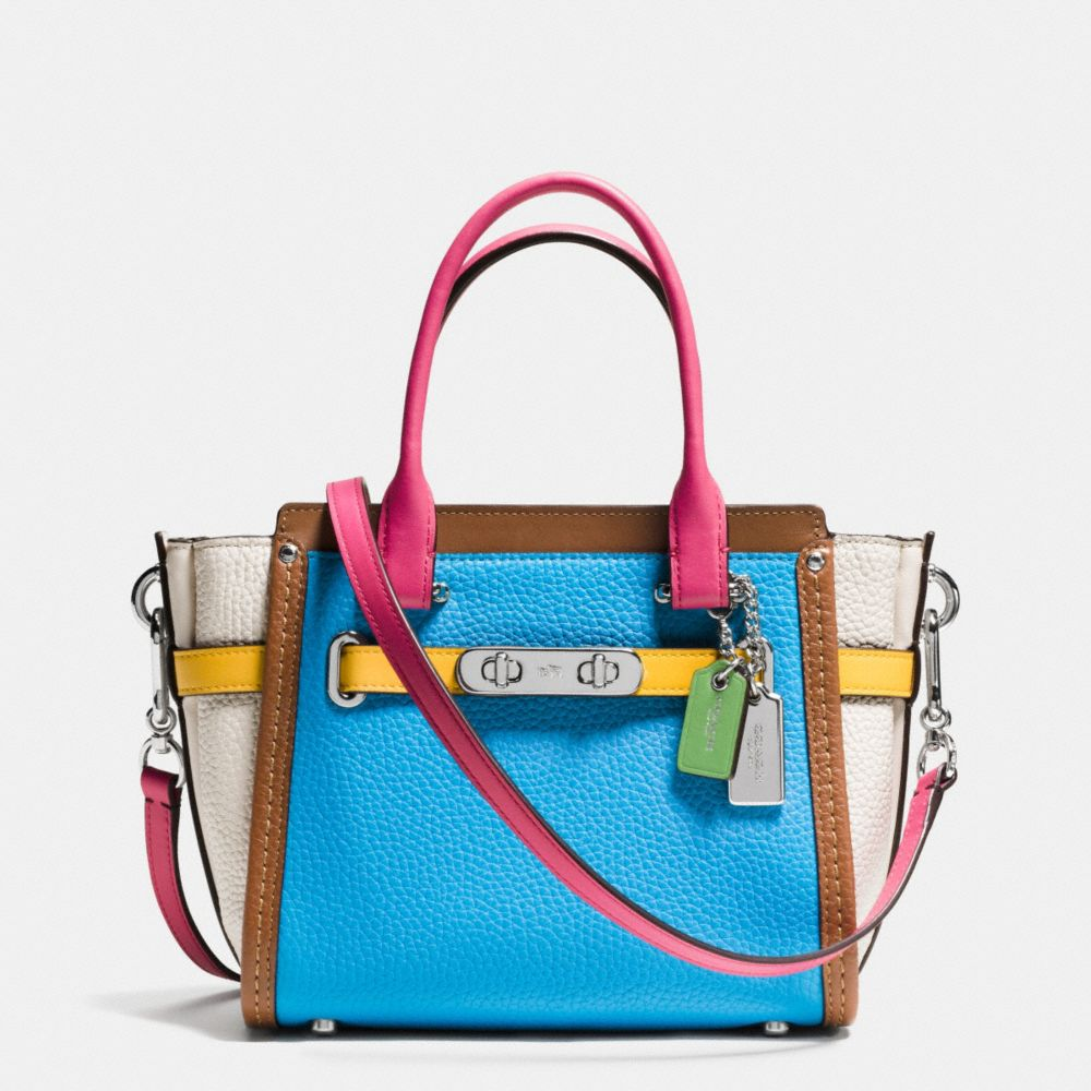 COACH SWAGGER 21 CARRYALL IN RAINBOW COLORBLOCK LEATHER