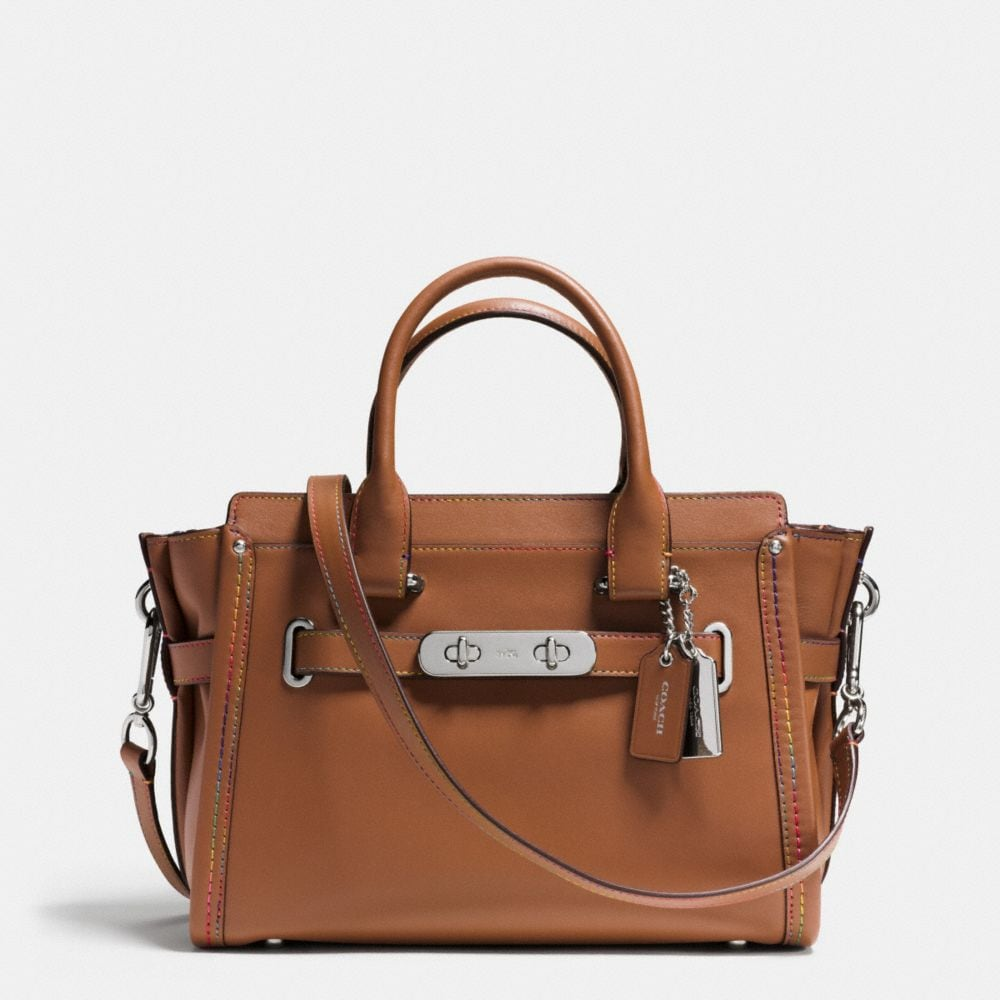 COACH SWAGGER 27 CARRYALL IN RAINBOW STITCH LEATHER