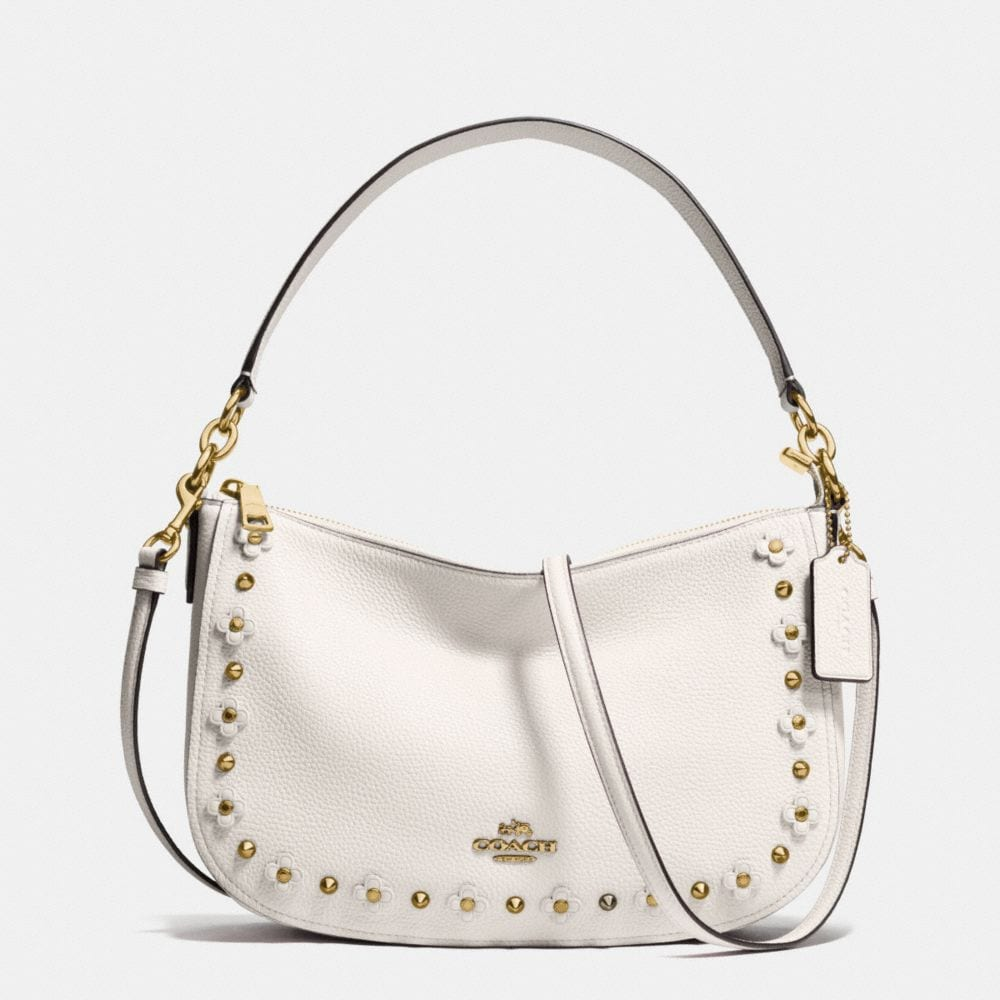 CHELSEA CROSSBODY IN FLORAL RIVETS LEATHER