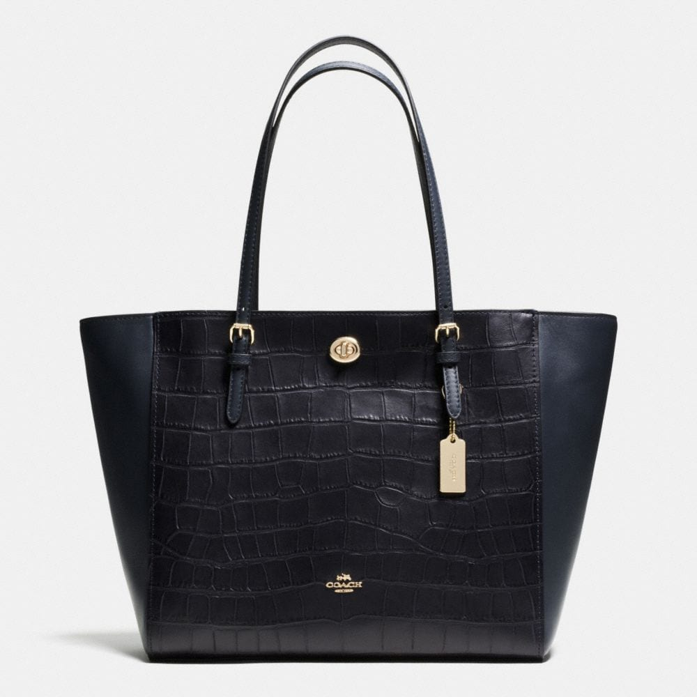 TURNLOCK TOTE IN CROC EMBOSSED LEATHER