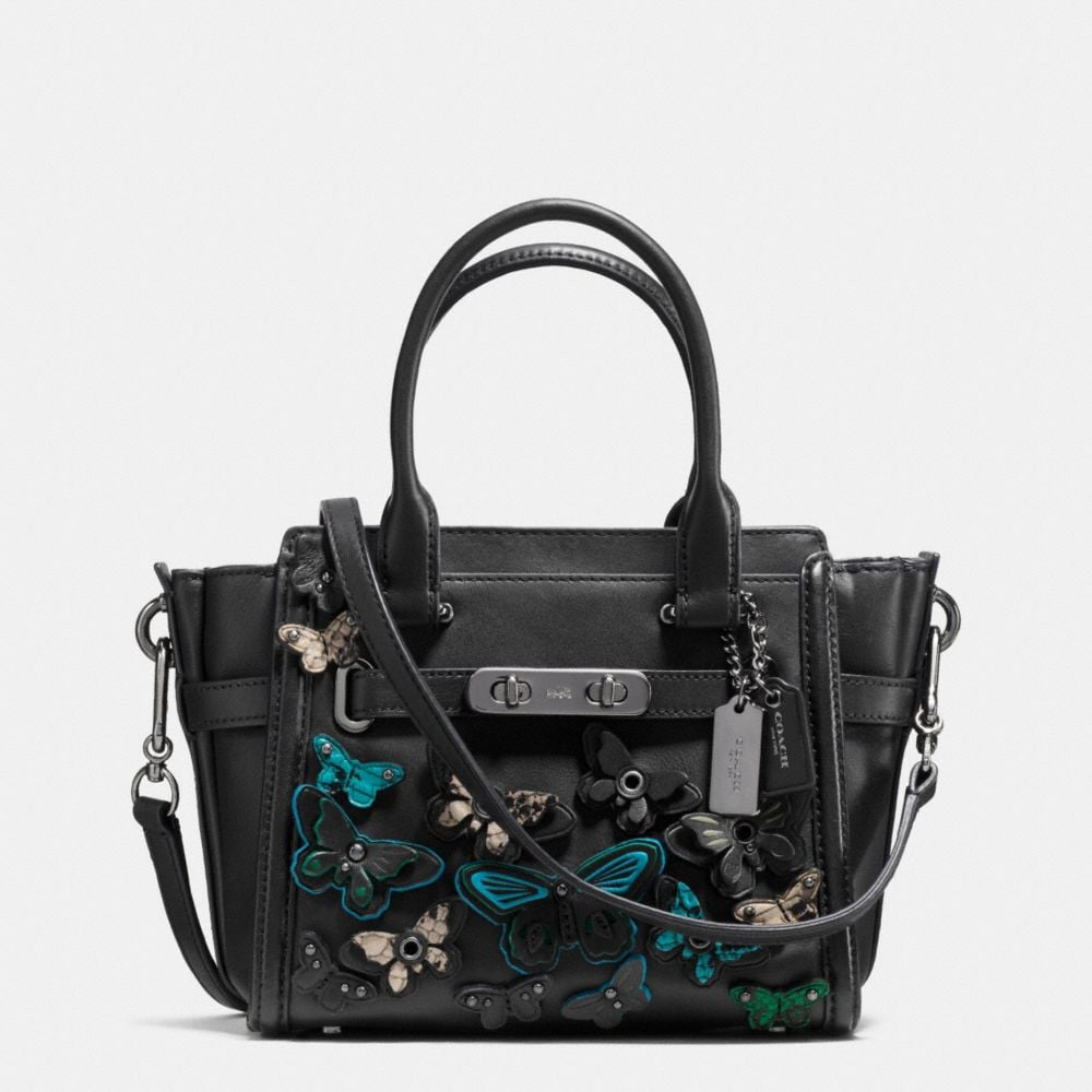BUTTERFLY APPLIQUE COACH SWAGGER 21 IN GLOVETANNED LEATHER
