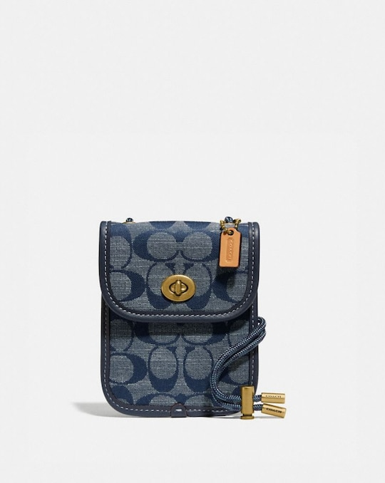 TURNLOCK POUCH 10 IN SIGNATURE CHAMBRAY