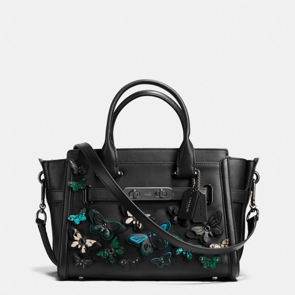 BUTTERFLY APPLIQUE COACH SWAGGER 27 IN GLOVETANNED LEATHER