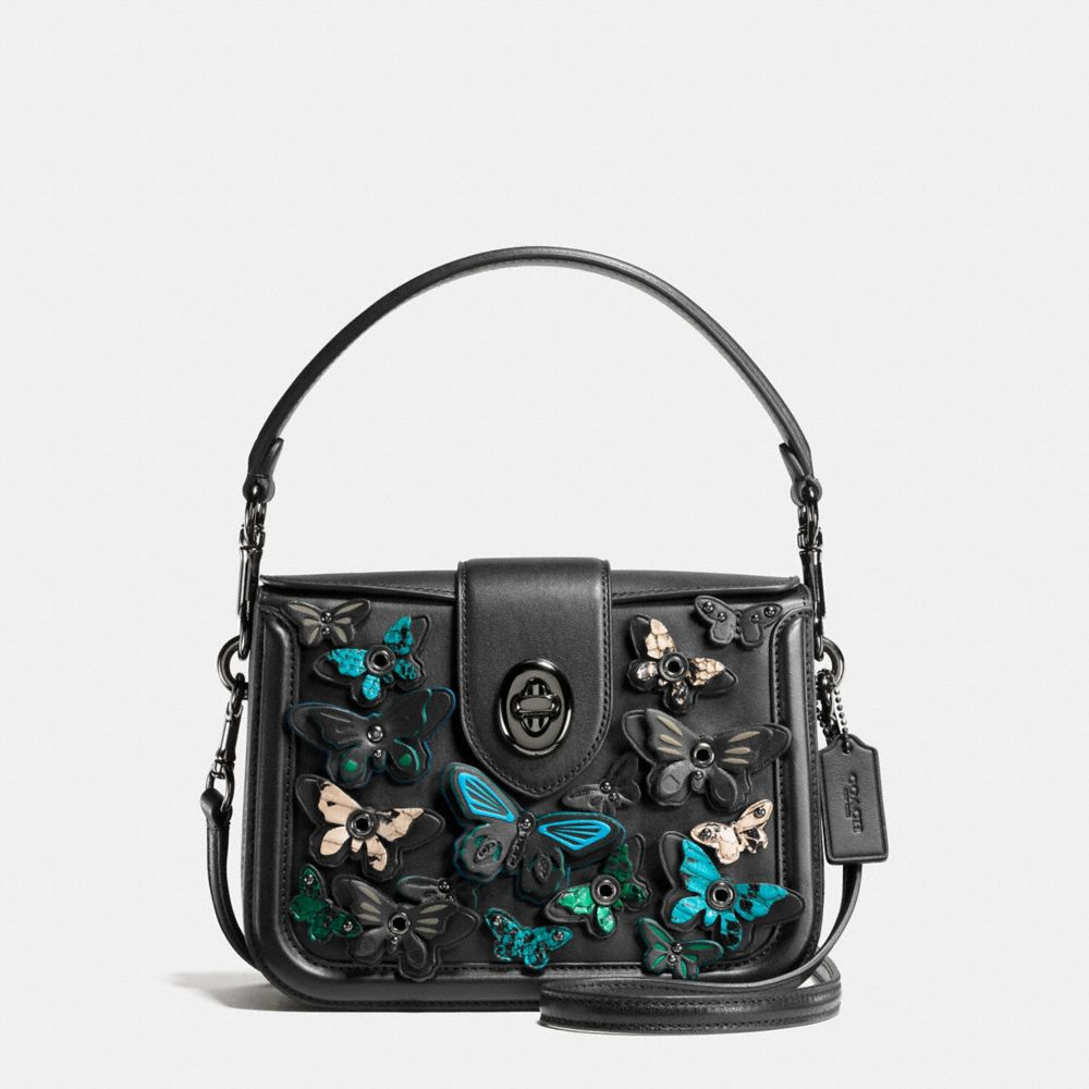 BUTTERFLY APPLIQUE PAGE CROSSBODY IN GLOVETANNED LEATHER