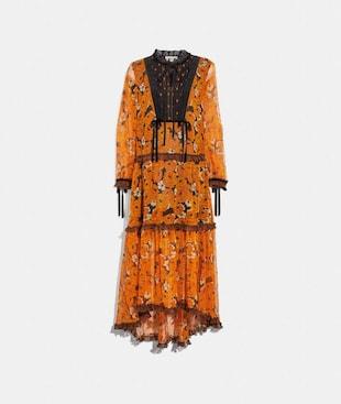 ROSE PRINT TIERED DRESS