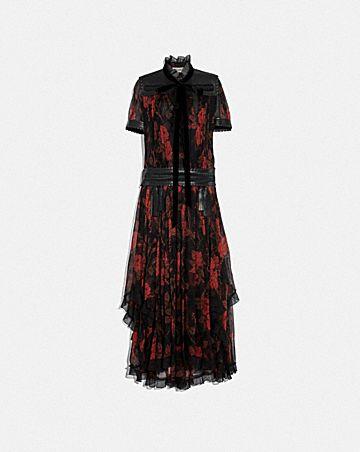 ROSE PRINT RUFFLE DRESS
