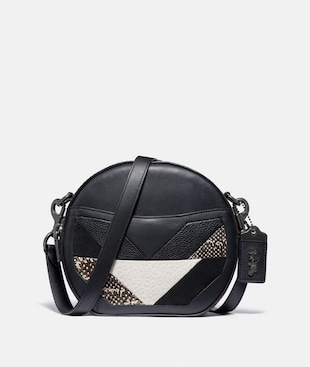 CANTEEN CROSSBODY WITH PATCHWORK AND SNAKESKIN DETAIL