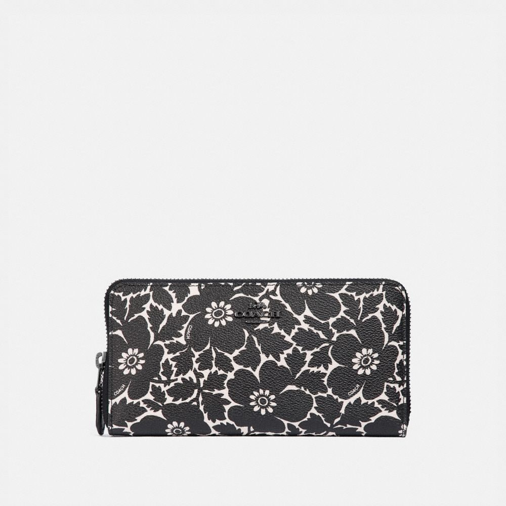 ACCORDION ZIP WALLET WITH ANEMONE PRINT