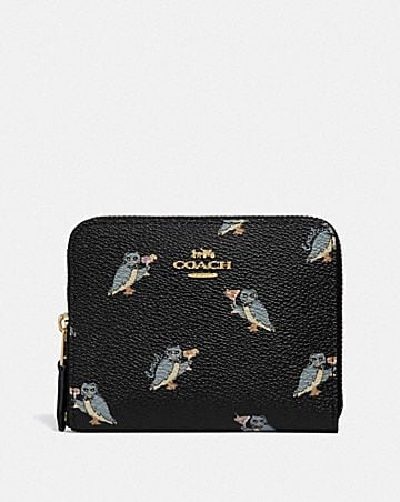 SMALL ZIP AROUND WALLET WITH PARTY OWL PRINT