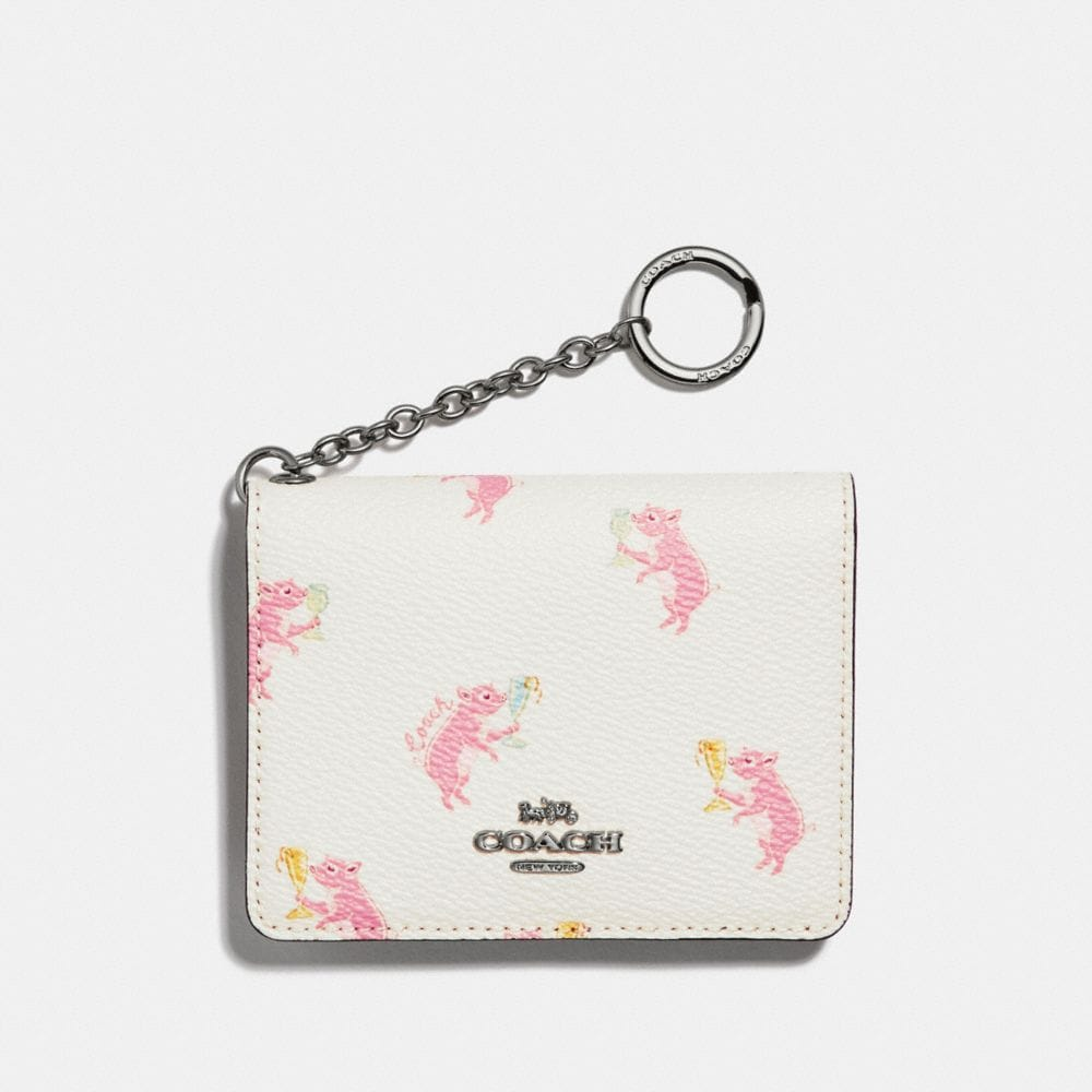 KEY RING CARD CASE WITH PARTY PIG PRINT