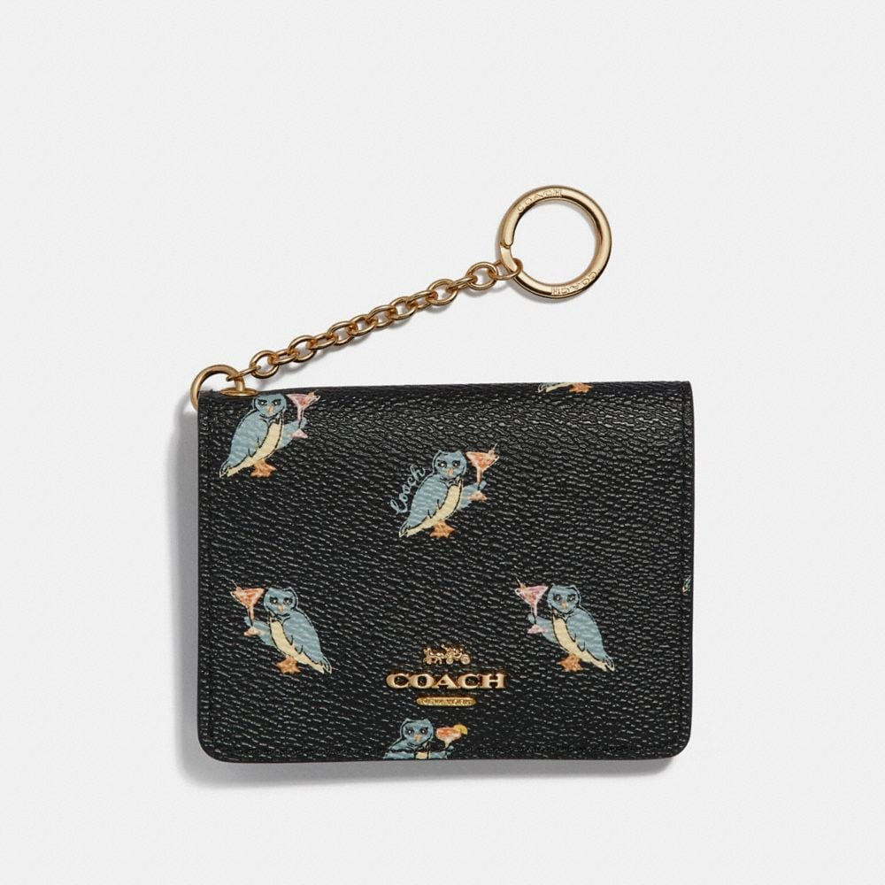 KEY RING CARD CASE WITH PARTY OWL PRINT