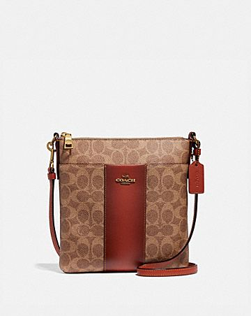 MESSENGER CROSSBODY IN COLORBLOCK SIGNATURE CANVAS