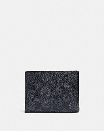 babcacba2760 SLIM BILLFOLD WALLET IN SIGNATURE CANVAS