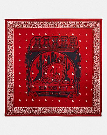 LUNAR NEW YEAR SILK SQUARE SCARF WITH PIG MOTIF