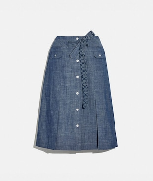 GONNA LONGUETTE ALLACCIATA IN VITA IN CHAMBRAY