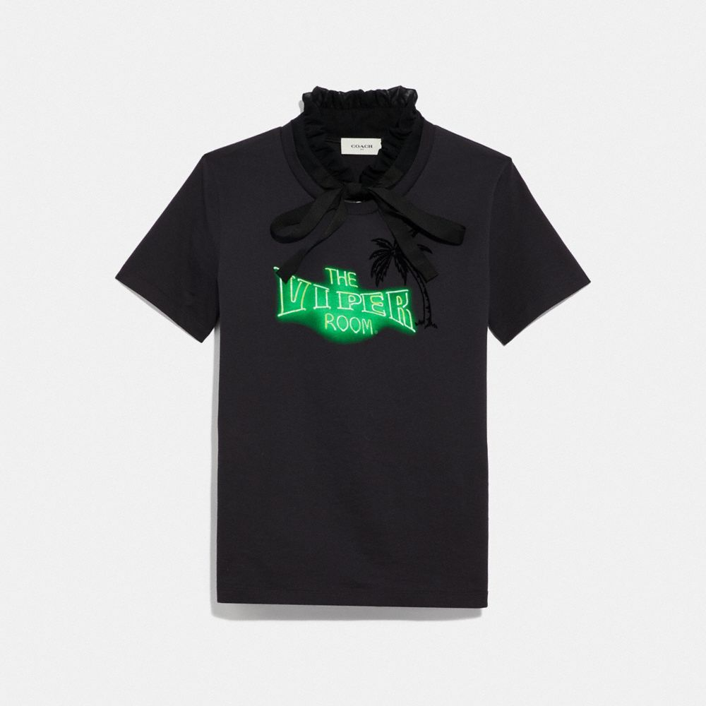 VIPER ROOM NEON T-SHIRT WITH RUFFLED COLLAR