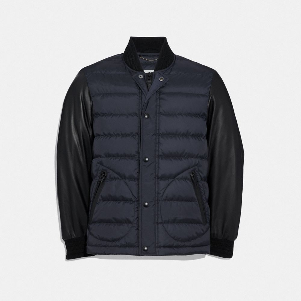 LIGHTWEIGHT DOWN VARSITY JACKET WITH LEATHER SLEEVES