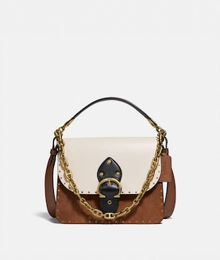BEAT SHOULDER BAG IN COLORBLOCK WITH RIVETS