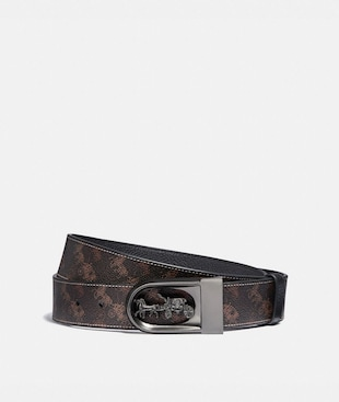 HORSE AND CARRIAGE BUCKLE CUT-TO-SIZE REVERSIBLE BELT WITH HORSE AND CARRIAGE PRINT, 38MM