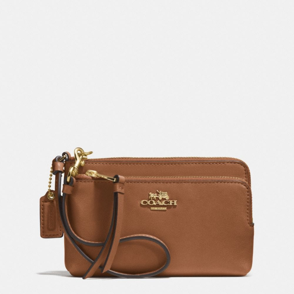 MADISON DOUBLE ZIP WRISTLET IN LEATHER