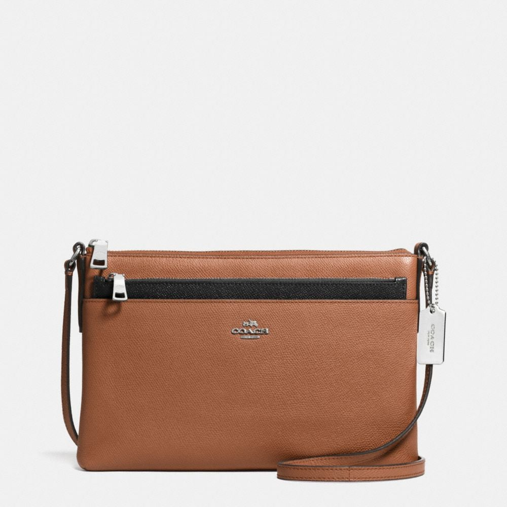 SWINGPACK WITH POP-UP POUCH IN EMBOSSED TEXTURED LEATHER