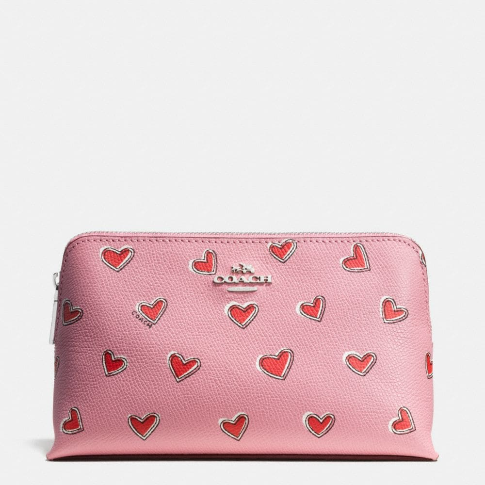 COSMETIC CASE 19 IN HEART PRINT LEATHER