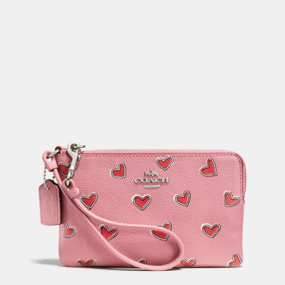 CORNER ZIP WRISTLET IN HEART PRINT CROSSGRAIN LEATHER