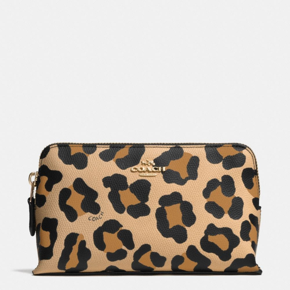 COSMETIC CASE 19 IN OCELOT PRINT CROSSGRAIN LEATHER