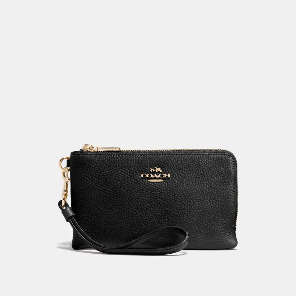 DOUBLE CORNER ZIP WRISTLET IN POLISHED PEBBLE LEATHER