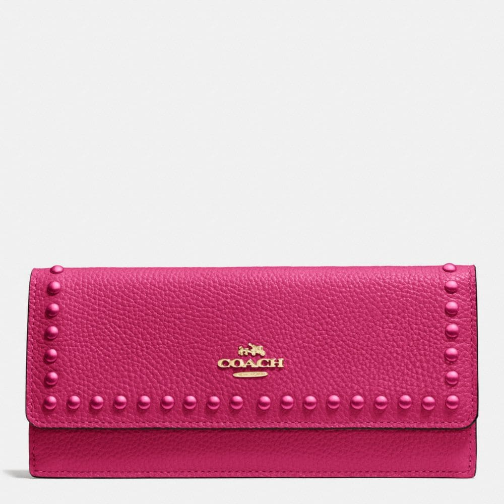 SOFT WALLET IN POLISHED PEBBLE LEATHER WITH LACQUER RIVETS