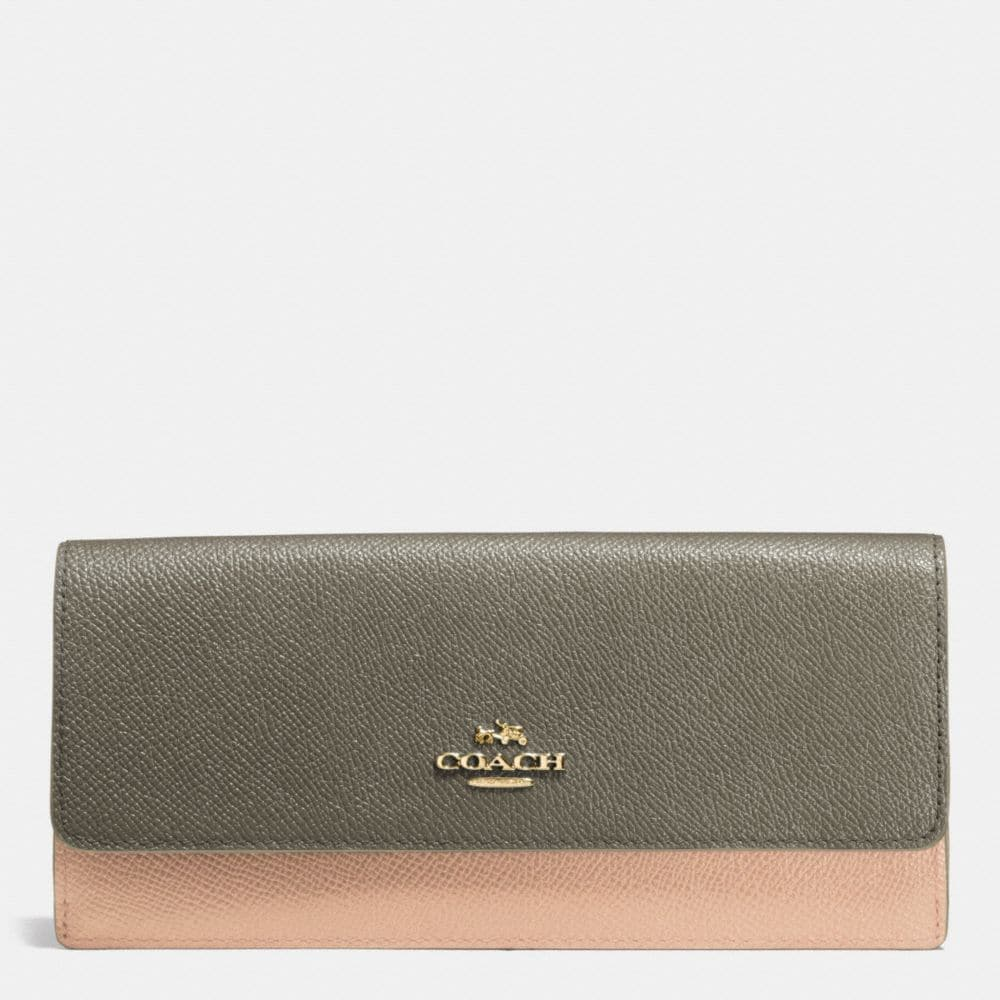 SOFT WALLET IN COLORBLOCK LEATHER