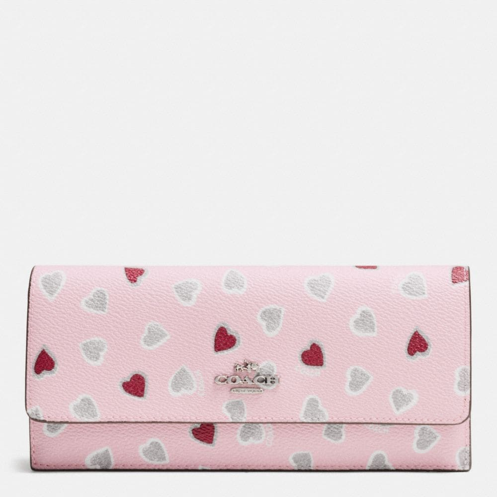SOFT WALLET IN HEART PRINT COATED CANVAS
