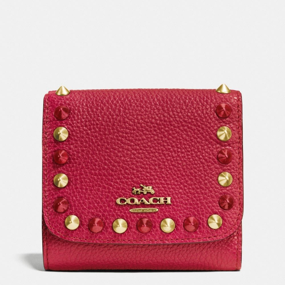 OUTLINE STUDS SMALL WALLET IN LEATHER
