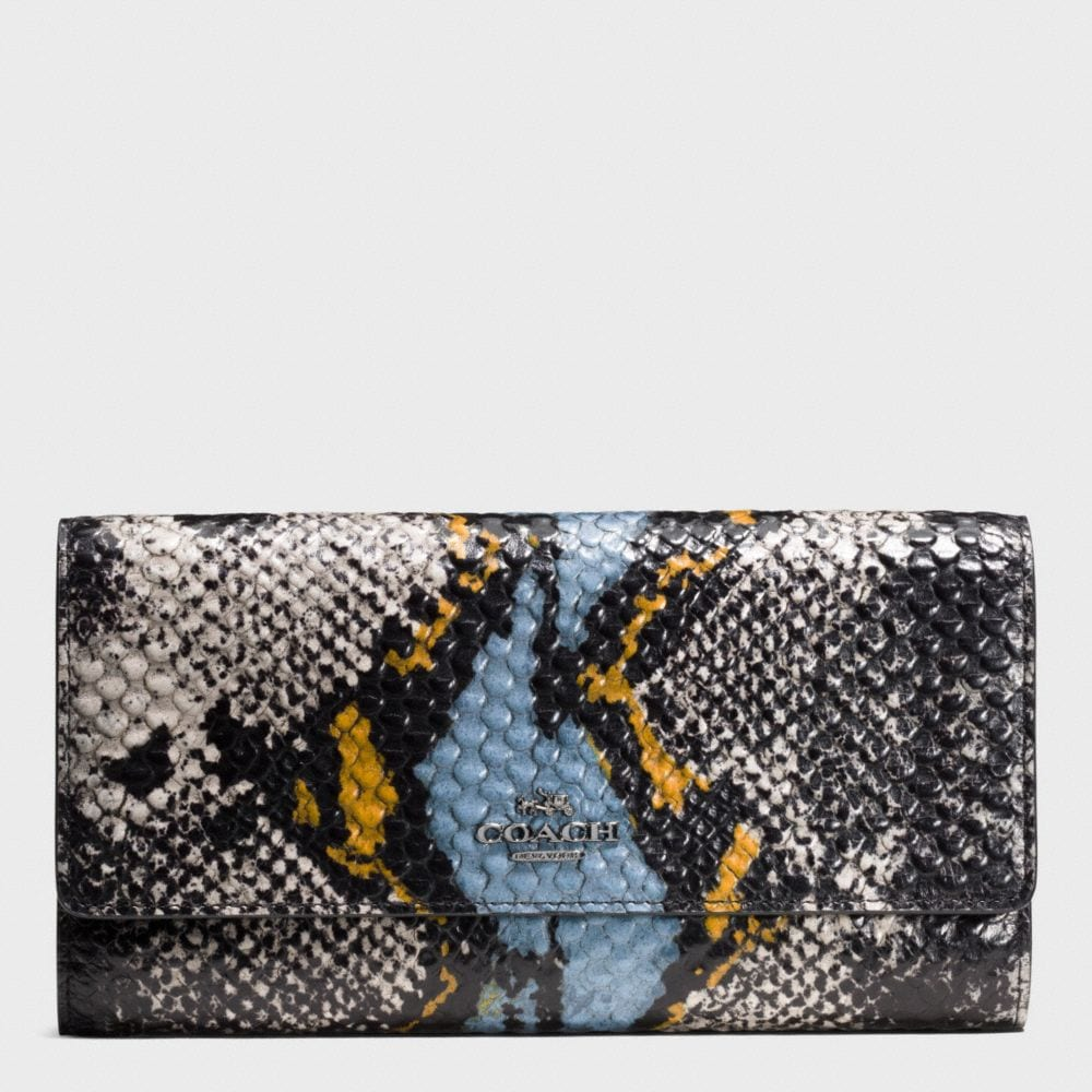 TRIFOLD WALLET IN EXOTIC EMBOSSED LEATHER