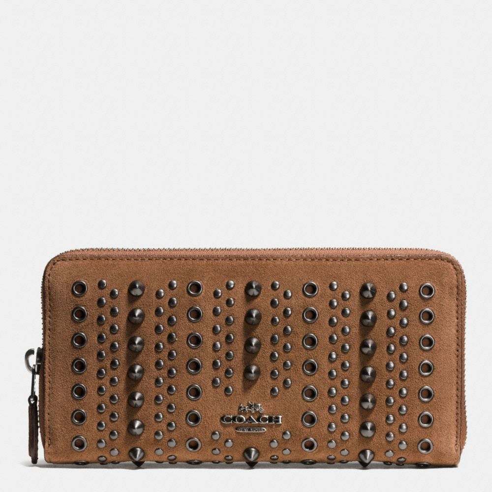 ACCORDION ZIP WALLET WITH ALL OVER STUDS AND GROMMETS