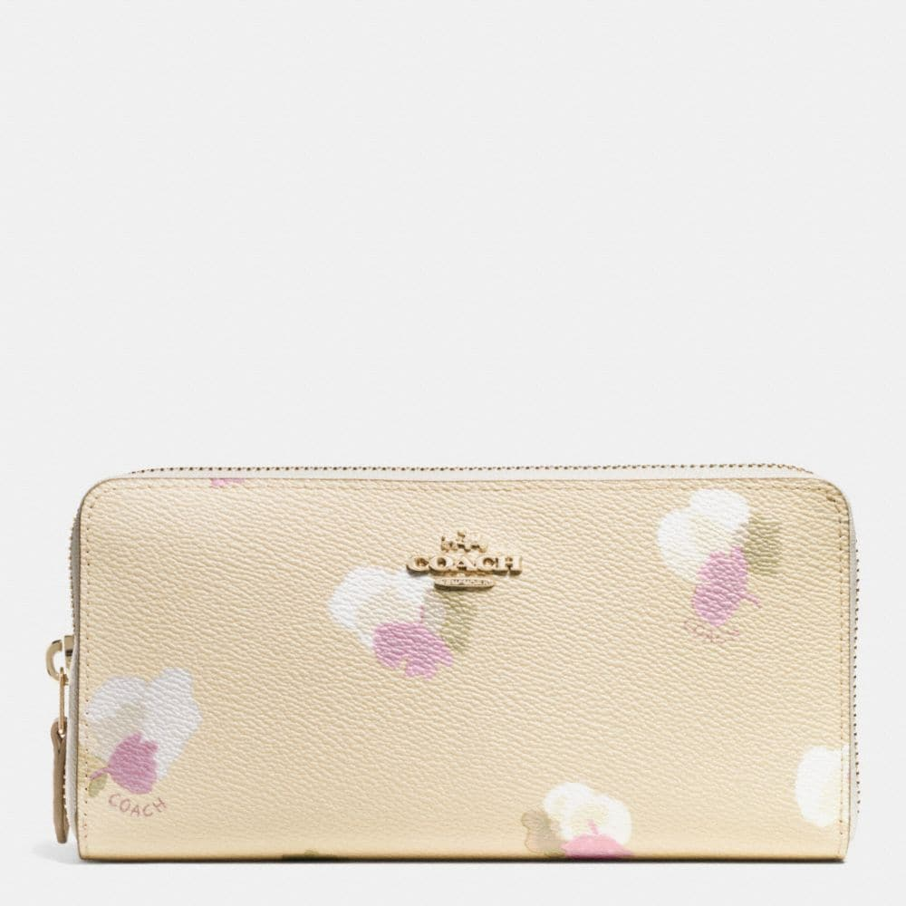 ACCORDION ZIP WALLET IN FLORAL PRINT COATED CANVAS