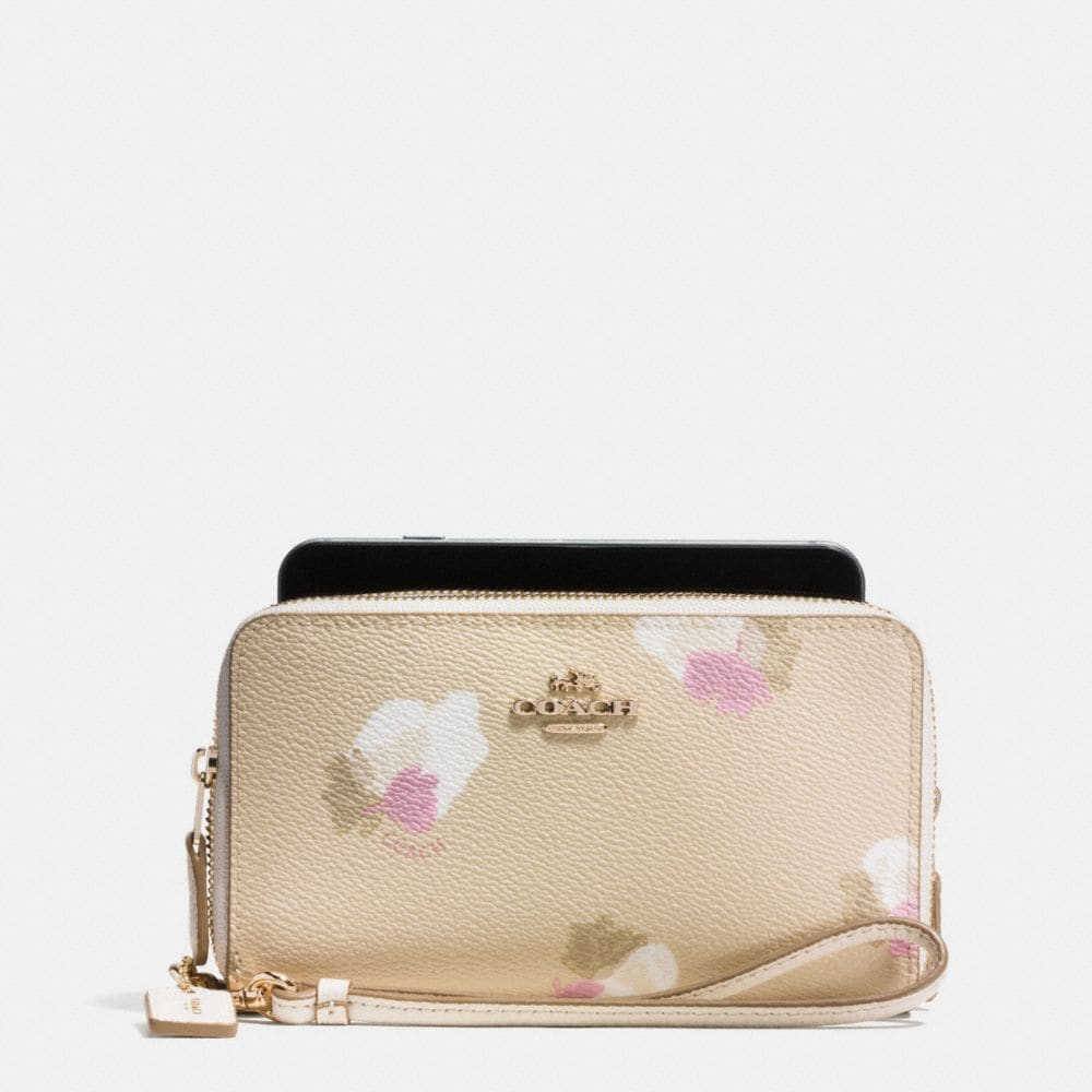 DOUBLE ZIP PHONE WALLET IN FLORAL PRINT COATED CANVAS