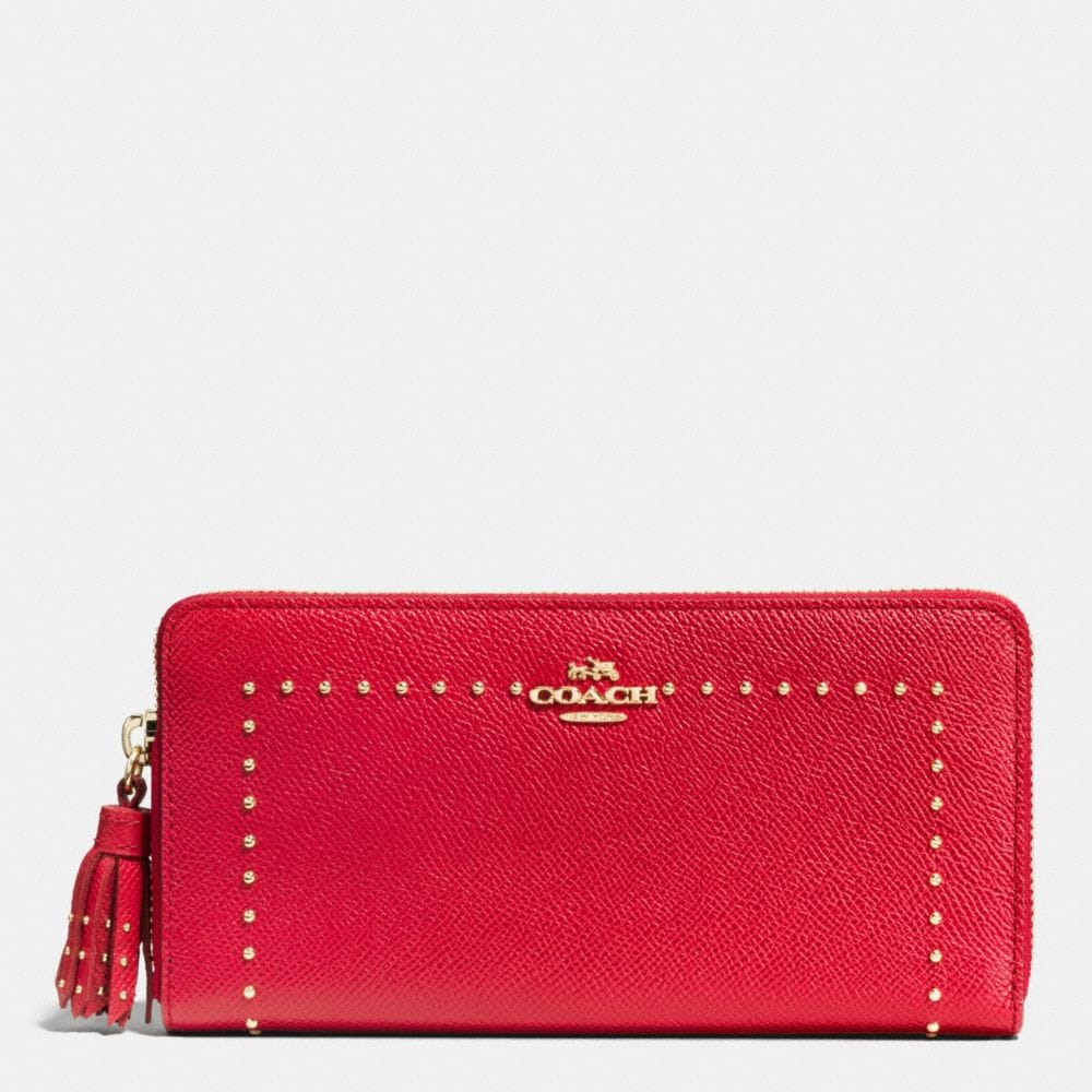 EDGE STUDS ACCORDION ZIP WALLET IN GROSSGRAIN LEATHER