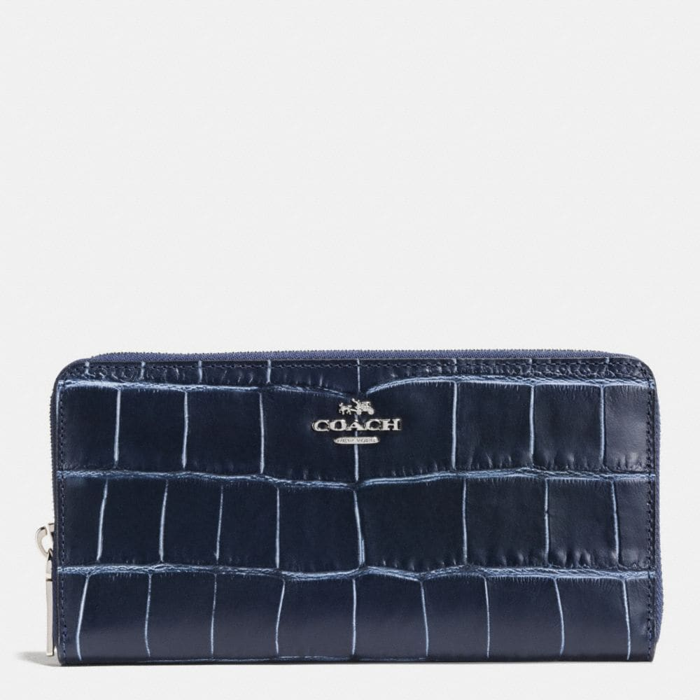 ACCORDION ZIP WALLET IN DENIM CROC-EMBOSSED LEATHER