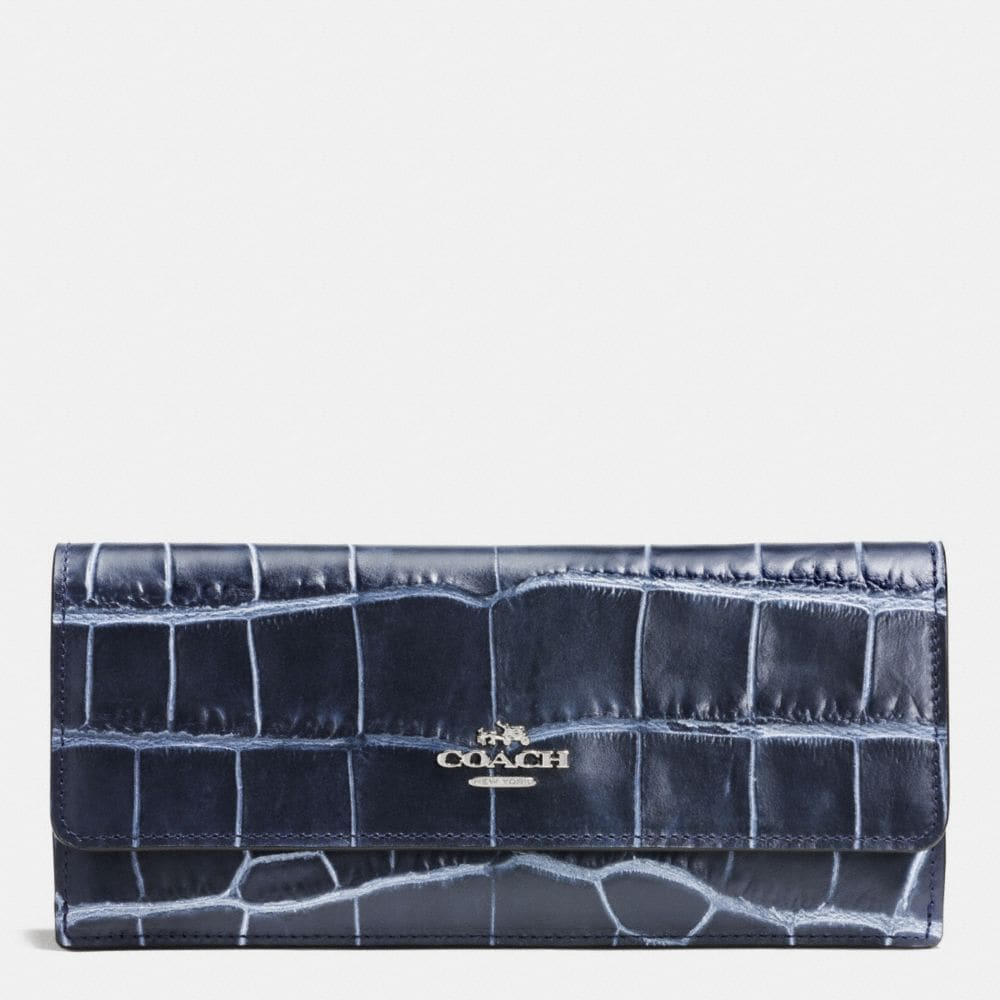 SOFT WALLET IN DENIM CROC-EMBOSSED LEATHER