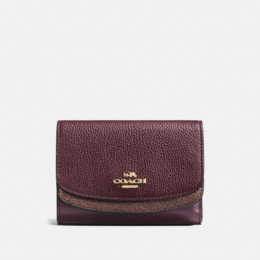 MEDIUM DOUBLE FLAP WALLET IN COLORBLOCK LEATHER