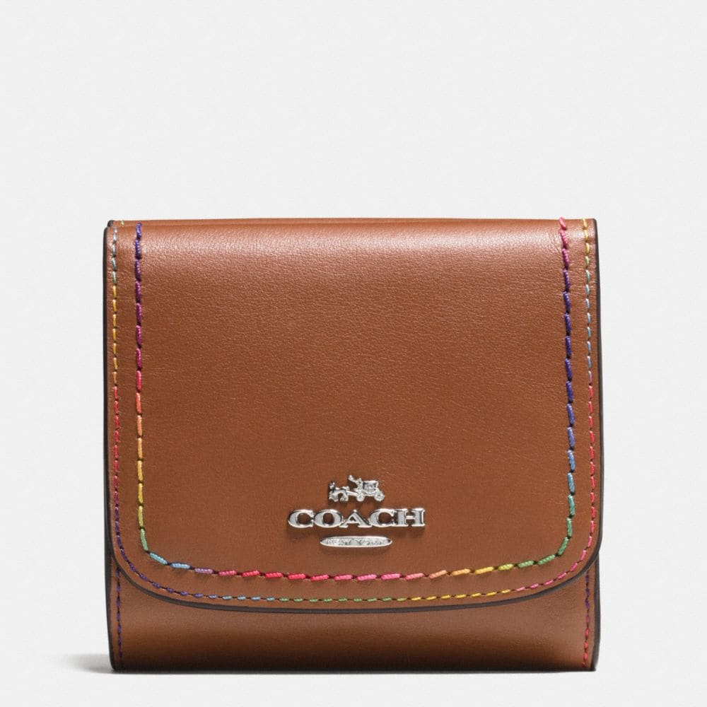 RAINBOW STITCH SMALL WALLET IN CALF LEATHER