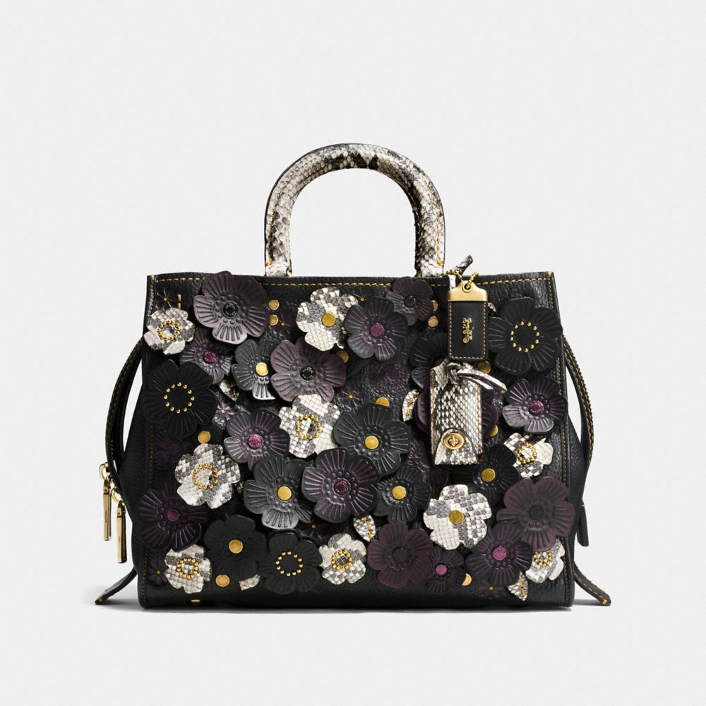 TEA ROSE APPLIQUE ROGUE BAG IN EXOTIC LEATHER