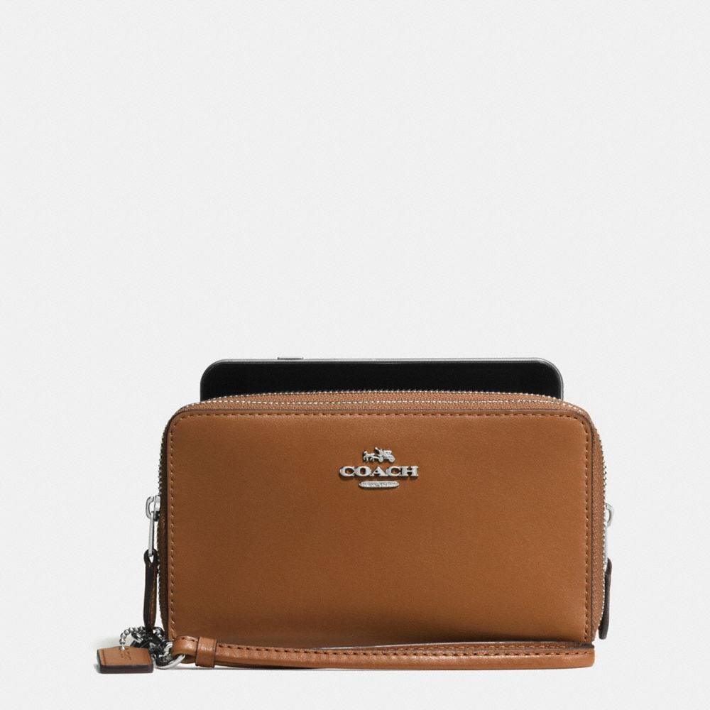 DOUBLE ZIP PHONE WALLET IN CALF LEATHER