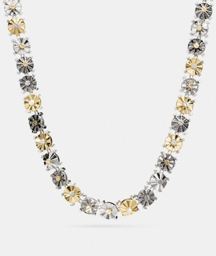MIXED DAISY RIVET CHOKER NECKLACE