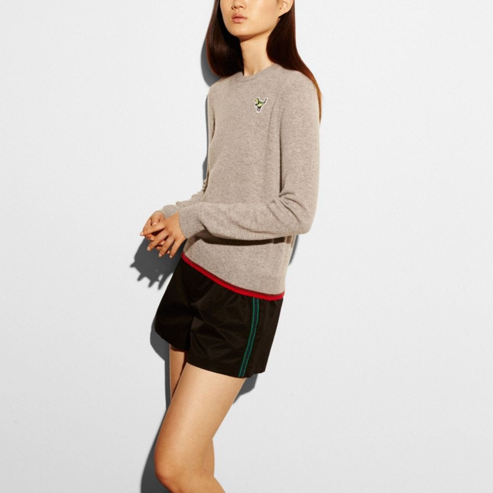 REXY PATCH LONG SLEEVE CREW SWEATER