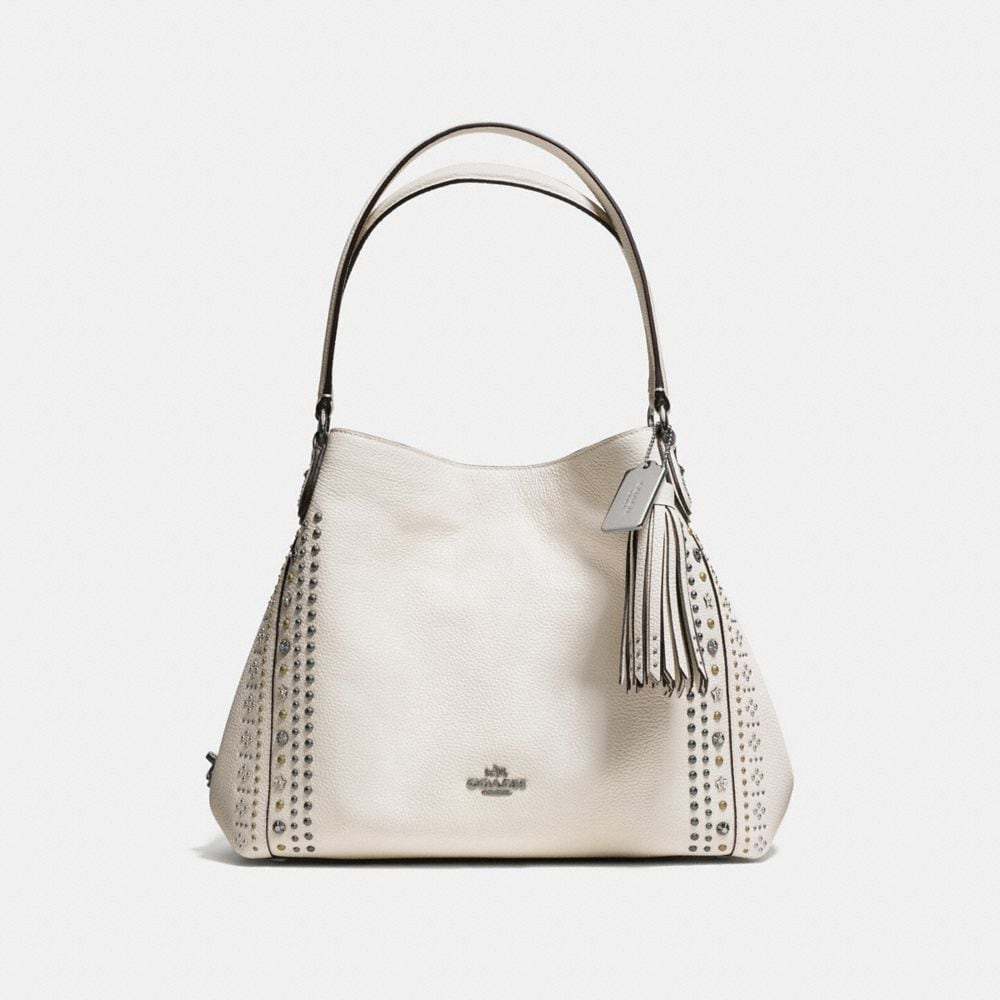 BANDANA RIVETS EDIE SHOULDER BAG 31 IN PEBBLE LEATHER